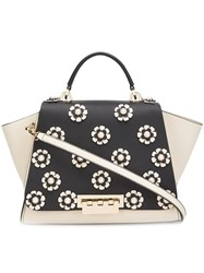 Zac Posen 'Eartha Iconic Top Handle' Flower Tote Black