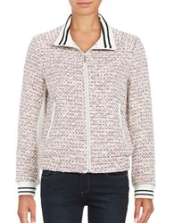 French Connection Tweed Zip Front Jacket Red Multi