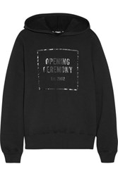 Opening Ceremony Established Hooded Printed Cotton Jersey Sweatshirt Black