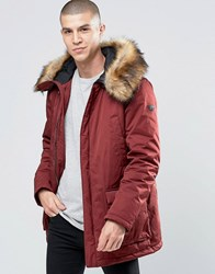 Armani Jeans Parka With Faux Fur Trim In Burgundy Burgundy Red