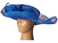Scala Sinamay Split Brim With Flower And Feather Trim Royal Caps Navy