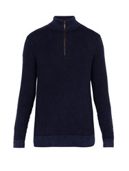 Iris Von Arnim Kolumbus Half Zip Stonewashed Cashmere Sweater Navy