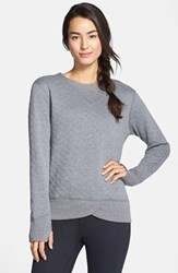 Women's Brooks 'Fly By' Quilted Running Sweatshirt Oxford Kale