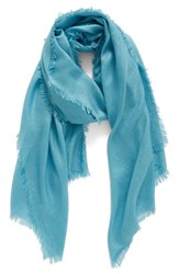 Nordstrom Women's Cashmere And Silk Wrap Teal Aqua