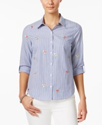 Charter Club Petite Cotton Striped Embroidered Floral Shirt Only At Macy's Bright White Combo