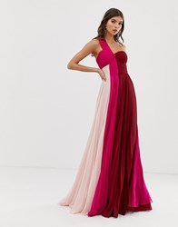 Forever Unique One Shoulder Prom Chiffon Maxi Dress In Pink Colour