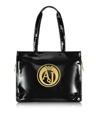 Armani Jeans Black Faux Patent Leather Tote