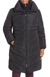 Plus Size Women's Jessica Simpson Knit Detail Quilted Down And Feather Fill Coat