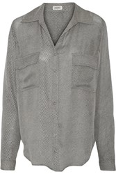 L'agence Margaret Printed Silk Shirt Gray