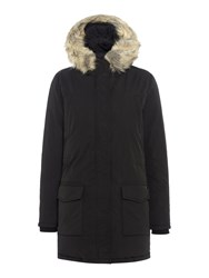 Maison Scotch Hooded Down Parka With Removable Fur Black