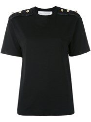 Victoria Beckham Button Detail T Shirt Women Cotton 8 Black