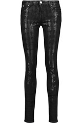 Karl Lagerfeld Kate Coated Mid Rise Skinny Jeans Black