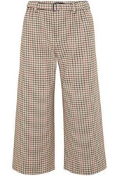 Maje Woman Poldi Cropped Belted Houndstooth Tweed Wide Leg Pants Beige