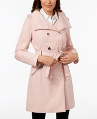 Guess Hooded Belted Double Breasted Trench Coat Blush