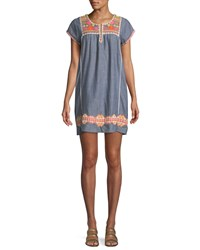 Letarte Embroidered Short Sleeve Tunic Dress Coverup Blue