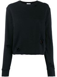 Saint Laurent Distressed Details Knitted Sweater Black