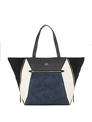 Vince Camuto Colorblock Leather Tote Black Blue
