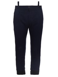 Haider Ackermann Cropped Cotton And Silk Blend Trousers Black Multi