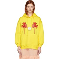 Msgm Yellow Palm Tree Hoodie