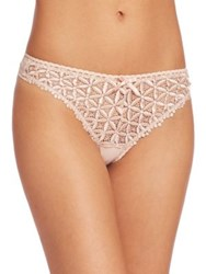 Aubade Guipure Lace And Mesh Tanga Thong Rose Nude
