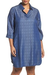 Foxcroft Plus Size Women's Geo Print Denim Shirtdress