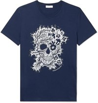 Alexander Mcqueen Printed Cotton Jersey T Shirt Blue