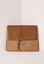 Missguided Thread Through Clutch Bag Tan Brown