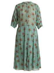 Masscob Rose Print Button Front Silk Dress Green