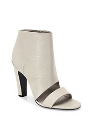 Vince Sansa Snake Embossed Lether Open Toe Booties Light Grey