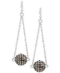 Touch Of Silver Pave Ball Chandelier Earrings In Plate Silver