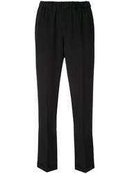 Aspesi Elastic Waist Straight Trousers Black