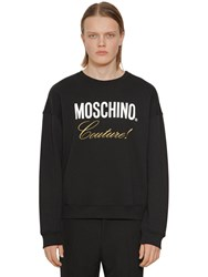 Moschino Logo Cotton Jersey Sweatshirt Black