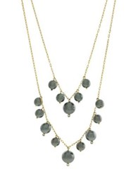 Cole Haan Crystal And Faux Pearl Double Layered Necklace Gold