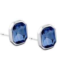 T Tahari Silver Tone Blue Octagonal Stud Earrings
