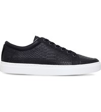 Kg By Kurt Geiger Phoenix Faux Leather Low Top Trainers Black