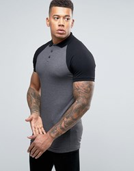 Asos Longline Muscle Polo Shirt With Contrast Raglan In Charcoal And Black Charcoal Black Multi