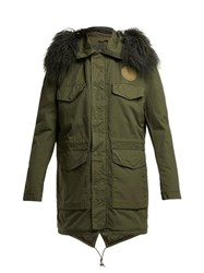 Mr And Mrs Italy Shearling Lined Cotton Parka Dark Green