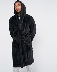 Asos Loungewear Hooded Fleece Dressing Gown Black