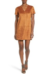 Catherine Malandrino Women's 'Marcella' Whipstitch Detail Faux Suede Shift Dress