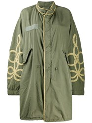 R 13 R13 Embroidered Parka Coat Green
