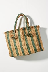 Anthropologie Candy Striped Woven Tote Bag Brown