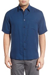 Men's Toscano 'Star Print' Regular Fit Silk Blend Sport Shirt Marine Navy