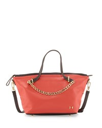 Two Tone Leather Satchel Bag Melon Halston Heritage
