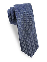 Saks Fifth Avenue Made In Italy Mosaic Silk Tie Blue