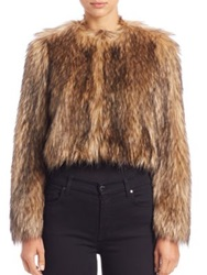 Red Valentino Cropped Faux Fur Jacket Sand