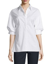 3.1 Phillip Lim Poplin Puffed Sleeve Top White