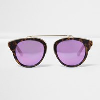 River Island Womens Brown Tortoise Shell Purple Lens Sunglasses