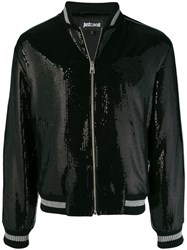 Just Cavalli Sequin Embellished Bomber Jacket Black