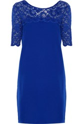 Badgley Mischka Tia Lace Trimmed Stretch Cady Mini Dress Bright Blue