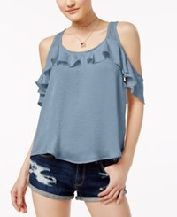 Almost Famous Crave Fame Juniors' Ruffled Racerback Cold Shoulder Top Baroque Blue